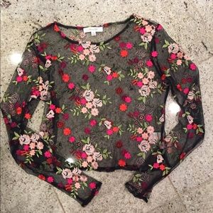 Urban outfitters mesh flower tee